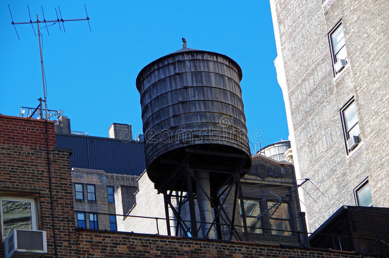 New York City urban water towers and rooftops. New York water towers and rooftops stock photography