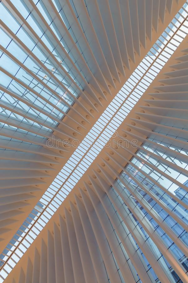 New York City / USA - AUG 22 2018: World Trade Center Transportation Hub`s Oculus interior view at sunset stock photo