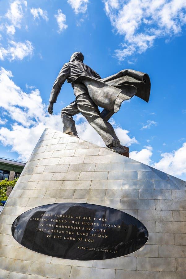 Statue of Adam Clayton Powell Jr. in Harlem, New York City, USA. New York City, USA - August 4, 2018: Bronze sculpture of Adam Clayton Powell Jr. in Harlem stock image