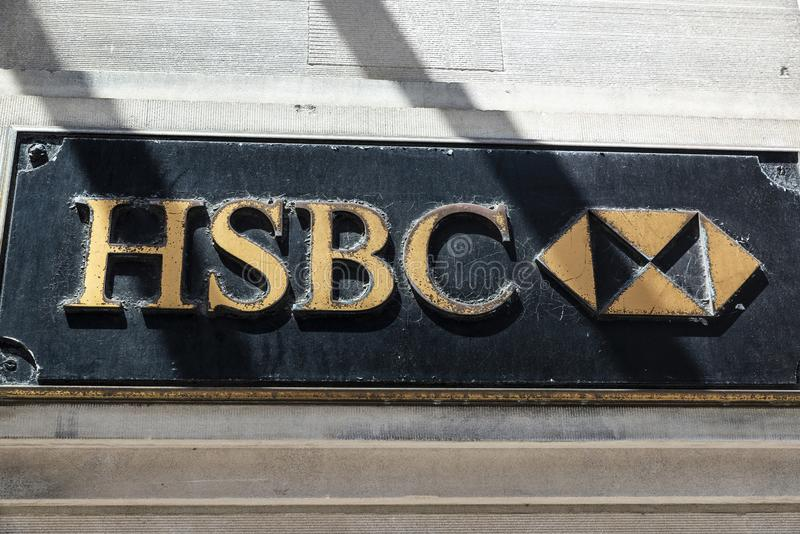 HSBC bank advertising sign editorial photography  Image of
