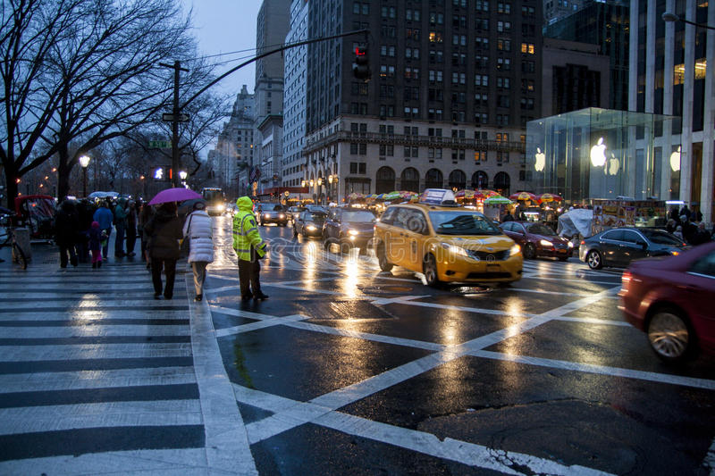 New York City, USA. December 09, 2012. RAiny evening view of the 5th ave in NYC stock images