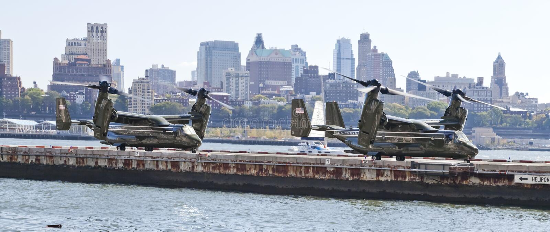 NEW YORK CITY USA, fiskgjuse MV-22 arkivbild