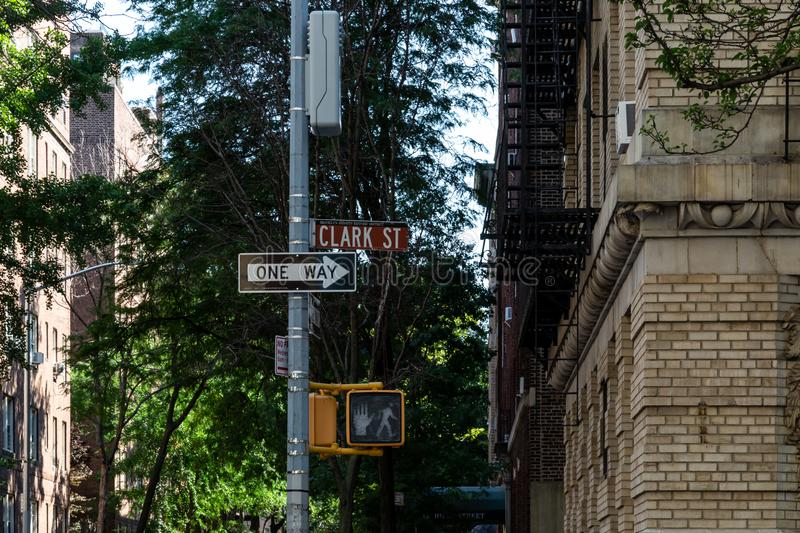 New York, City / USA - JUL 10 2018: Clark Street sign and traffic light in Brooklyn Heights Neighborhood New York City stock photos