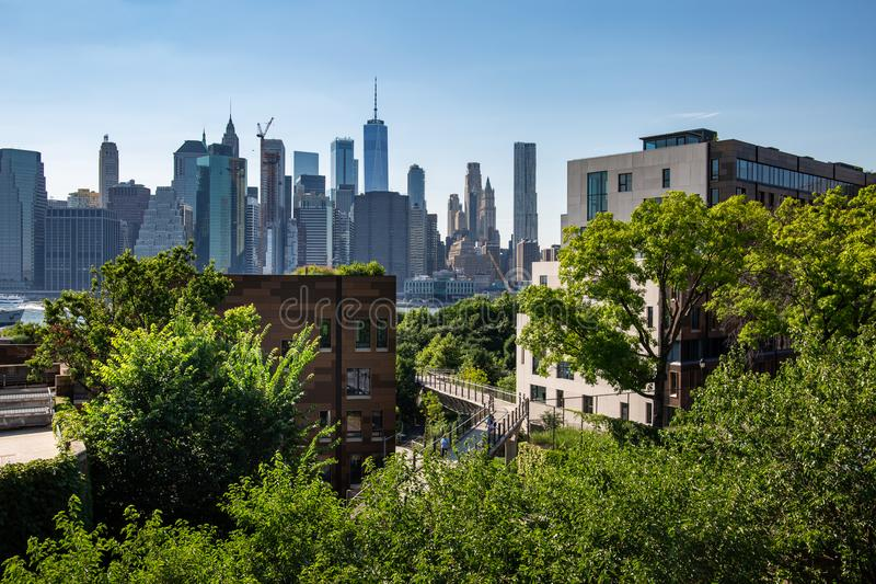 New York, City / USA - JUL 10 2018: Lower Manhattan skyline daylight view from Brooklyn Queens Expressway in Brooklyn Heights stock image