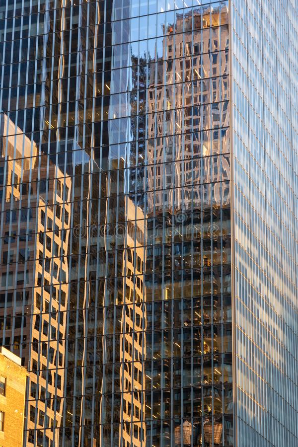 New York City / USA - JUL 19 2018: Midtown skyscrapers and build. Ings facade in Manhattan stock image