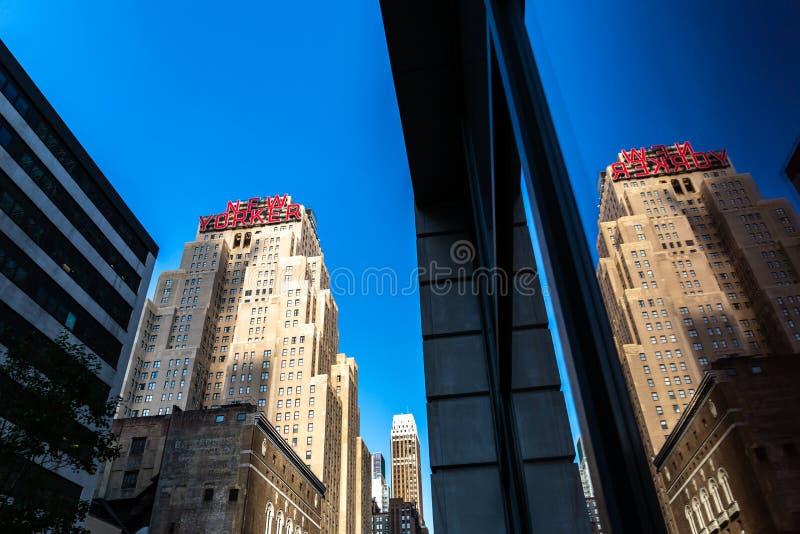 New York City/USA - 13. Juli 2018: New- Yorkerzeichen von Wyndham Ho lizenzfreie stockfotografie