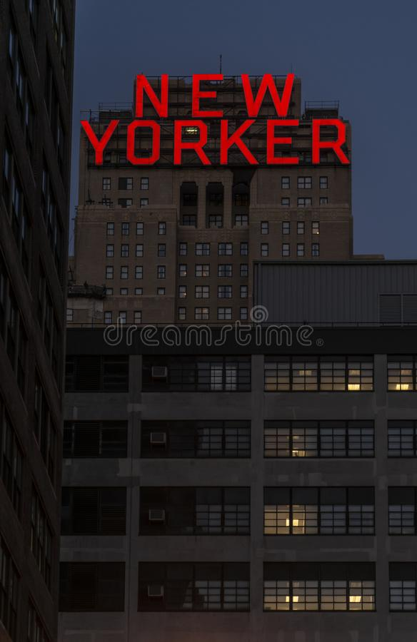 The New Yorker Hotel on 8th. Avenue at night in Manhattan, New York stock photos