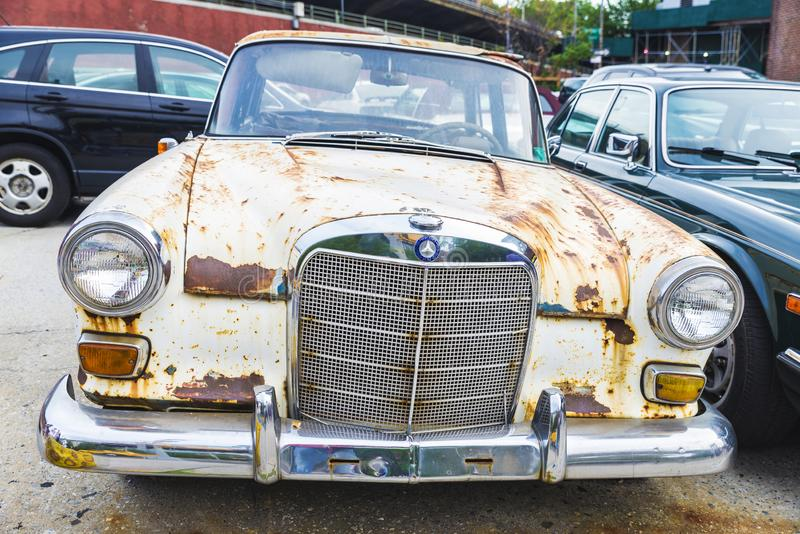 Old car Mercedes retro white in Brooklyn, New York City, USA royalty free stock photo
