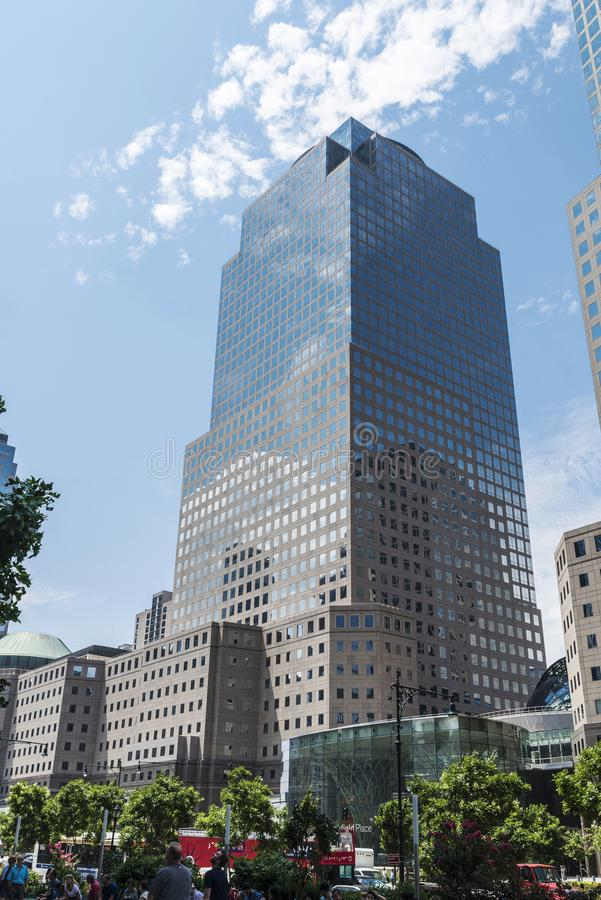 Three World Financial Center in Manhattan, New York City, USA. New York City, USA - July 27, 2018: Three World Financial Center in Financial District with people royalty free stock photography