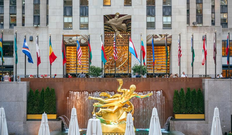 Prometheus Statue on Rockefeller Center in New York City royalty free stock photography