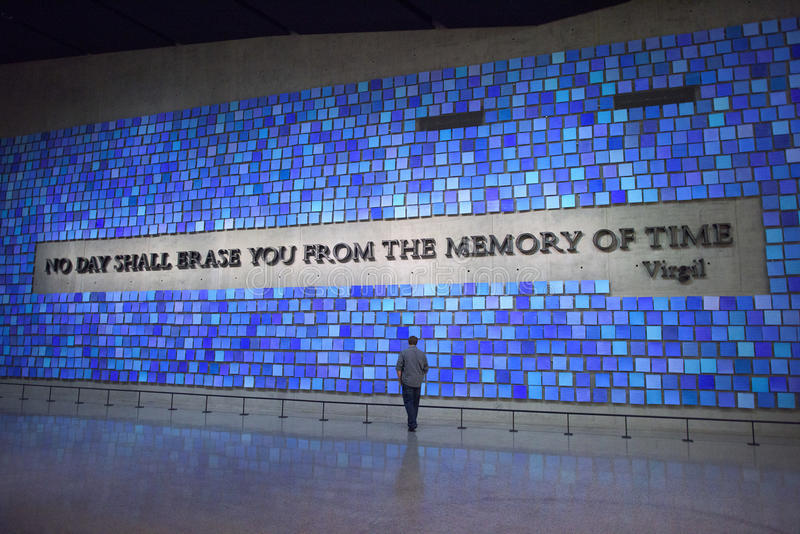 NEW YORK CITY, USA - June 12, 2015: Visitors in 9/11 Memorial Museum at Ground Zero stock photos