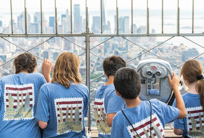 New York City, Empire State Building 86th Floor. School Field Trip on Top of Empire State Building royalty free stock images
