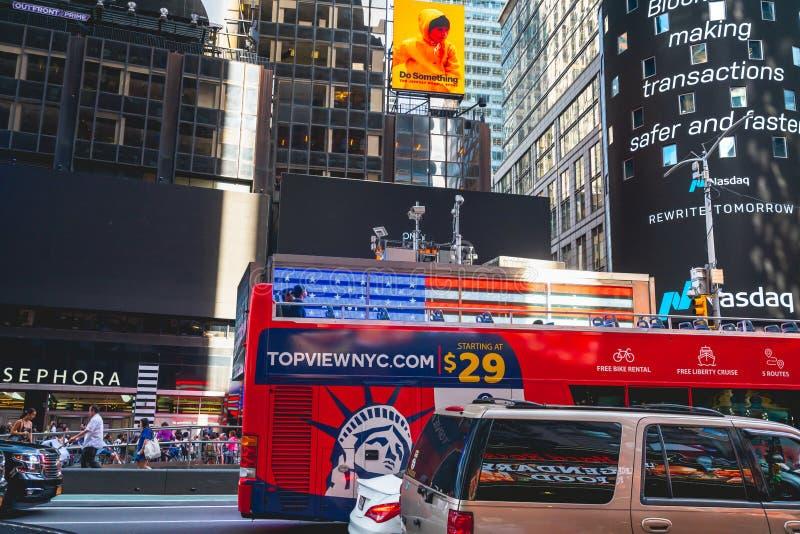 new york city hop on hop off tour bus, broadway. editorial