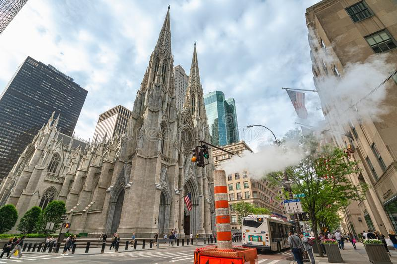 St Patrick`s Cathedral in Midtown Manhattan, NYC. New York City/USA-May 28, 2019 stock photo