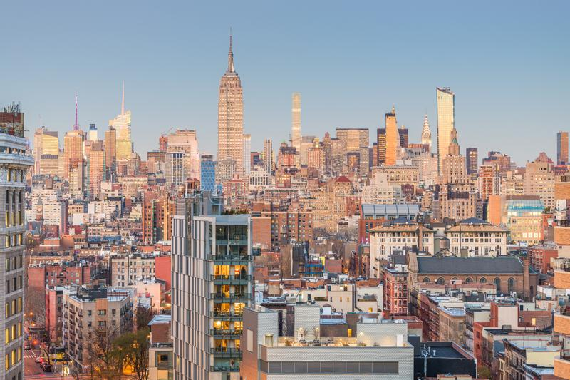 New York City, USA midtown Manhattan skyline stock photo