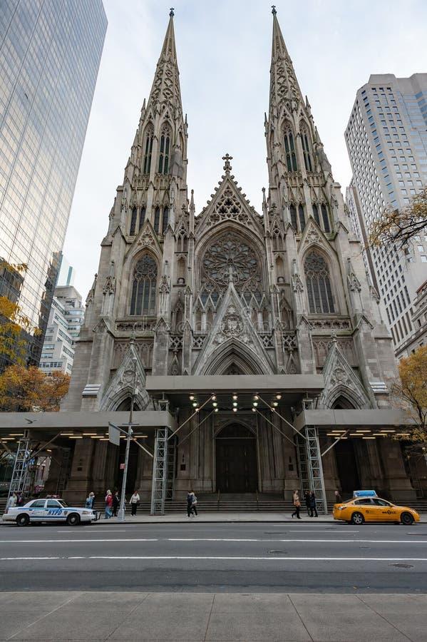 Saint-Patrick`s cathedral facade in NY royalty free stock image