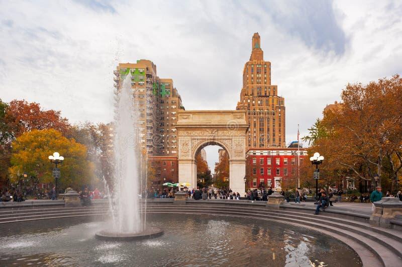 Washington square park and fountain in autumn stock image