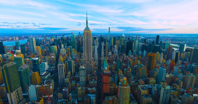 New York City- usa - skyline with urban skyscrapers at sunset.2019 royalty free stock image