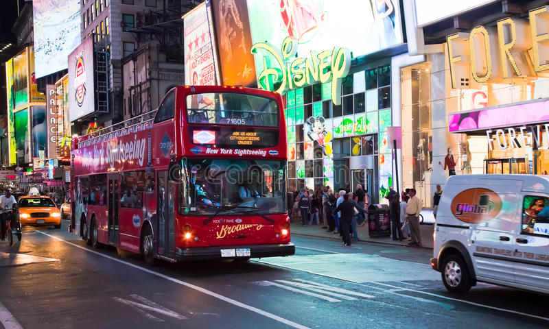 NEW YORK CITY, USA - Times Square. NEW YORK CITY, USA-SEPTEMBER 21:Times Square, featured with Broadway Theaters, Sightseeing Busses, Taxi Cabs and animated LED royalty free stock photo
