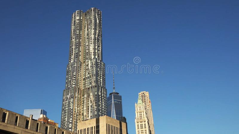 New York City - USA. View to Lower Manhattan downtown skyline with royalty free stock photography