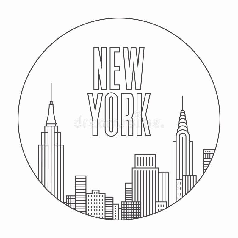New York city, vector outline illustration vector illustration