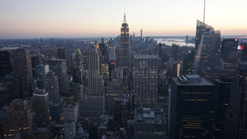 New York City View From Above - Evening Sunset stock image