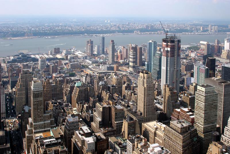 New York City, vista aerea fotografie stock libere da diritti