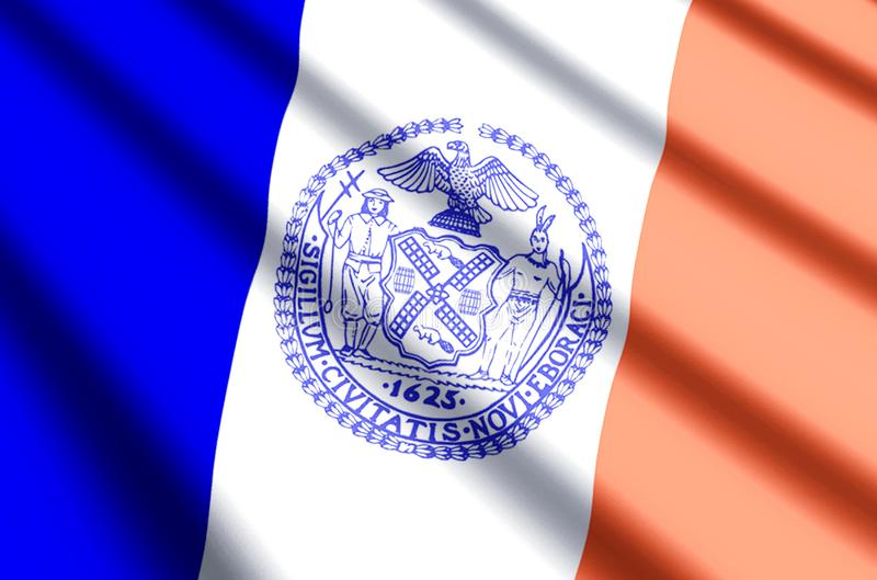 New york city colorful waving and closeup flag illustration. Perfect for texture and background stock illustration