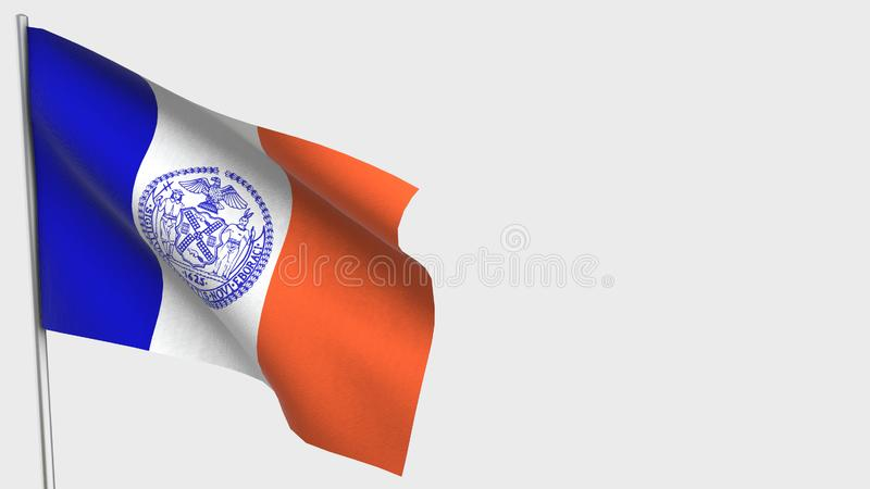 New York City waving flag illustration on flagpole. Perfect for background with space on the right side vector illustration