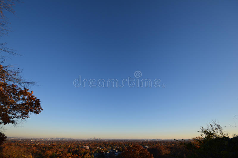New York City, wide view. NJ NYC NY. Shows Manhattan, Bronx, NY, and Newark and suburbs in New Jersey. Seen from New Jersey royalty free stock photography