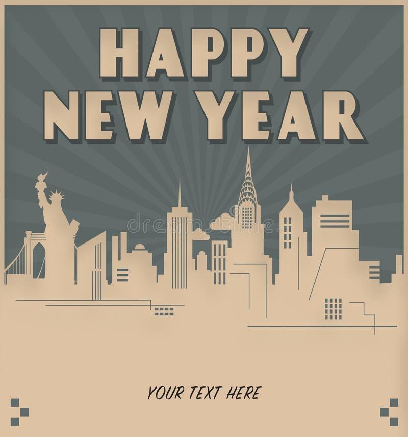 New York City New Year`s Invitation Art Deco Style stock illustration