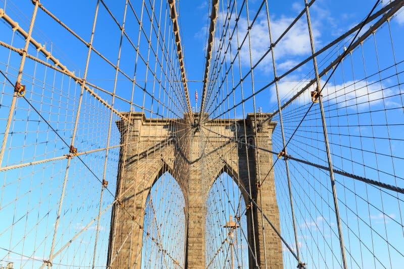 New- York Citybrooklyn-brücke in Manhattan-Abschluss oben lizenzfreies stockbild