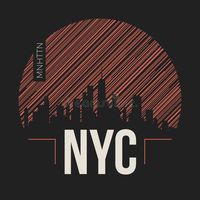 New- York Citygraphik, T-Shirt Design, T-Stück Druck, Typografie stock abbildung