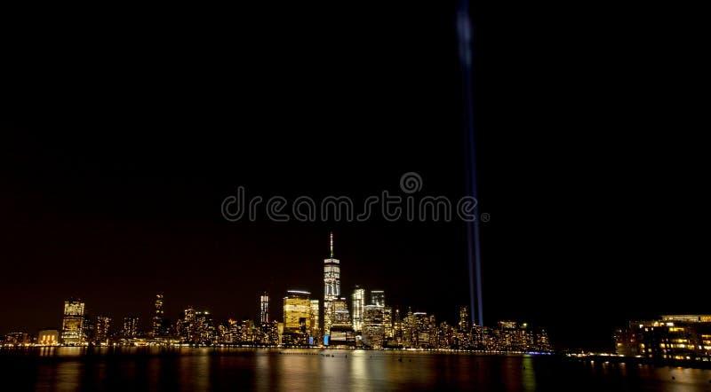 New- York Citylicht-Tribut 911 stockfoto