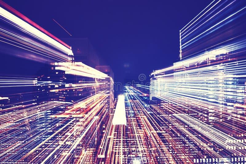 New- York Citynachtskyline mit futuristischem Zoomeffekt lizenzfreie stockbilder