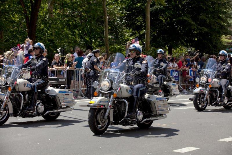 New- York Citypolizeidienststelle-Motorrad-Gruppe lizenzfreie stockbilder