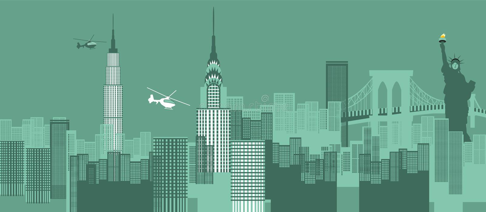 New York cityscape. Buildings in a city, New York City, New York State, USA stock illustration