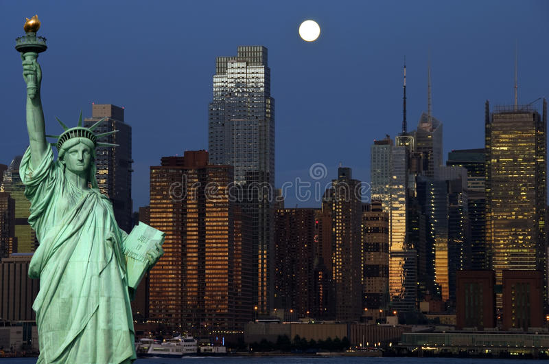 New york cityscape capture at night over hudson royalty free stock photo