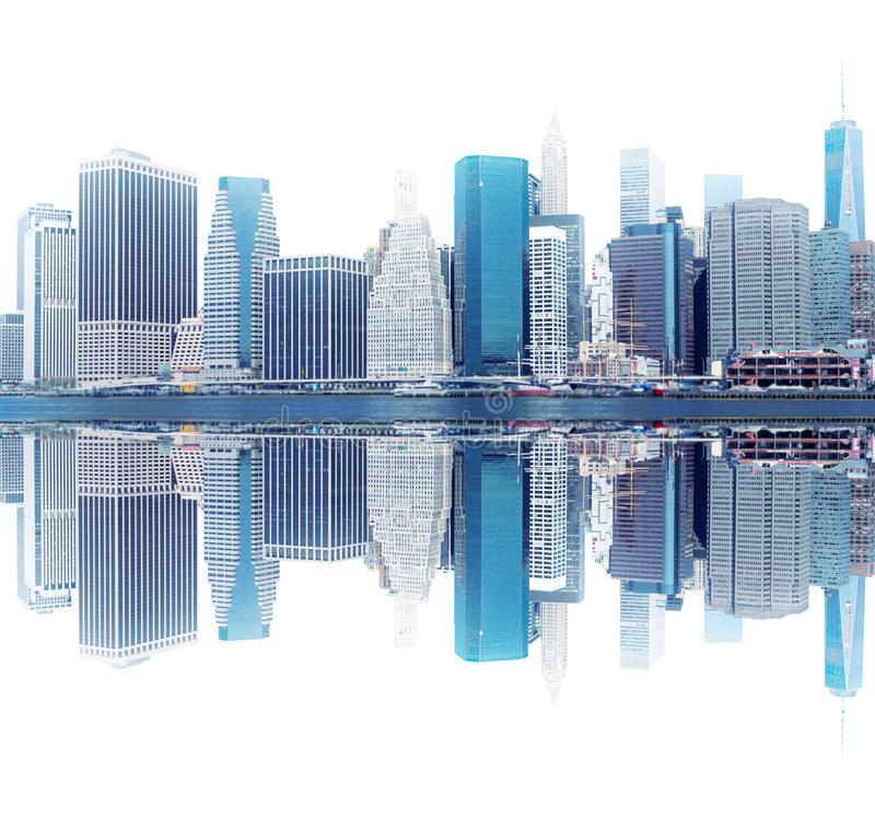 New York cityscape and its reflection in water royalty free stock images
