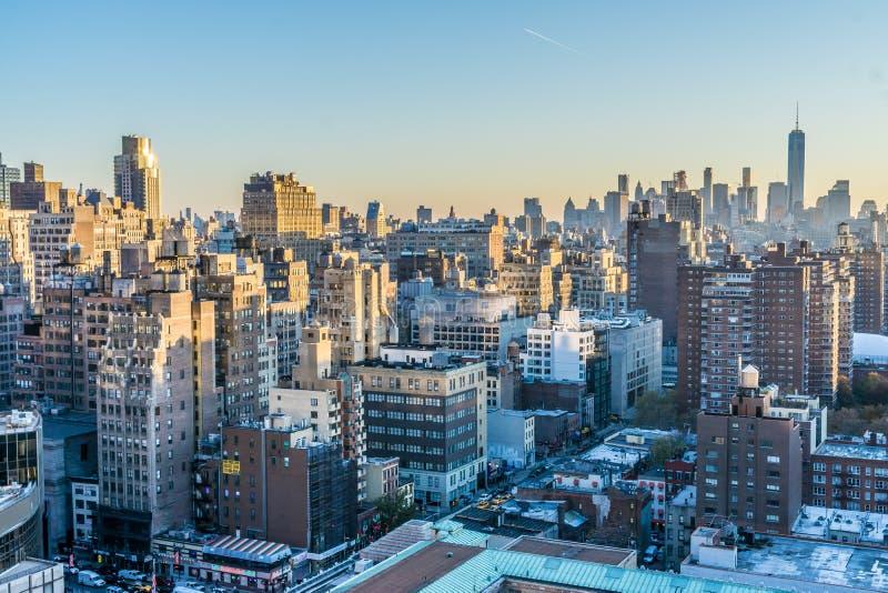 New York Cityscape p? gryning royaltyfria bilder