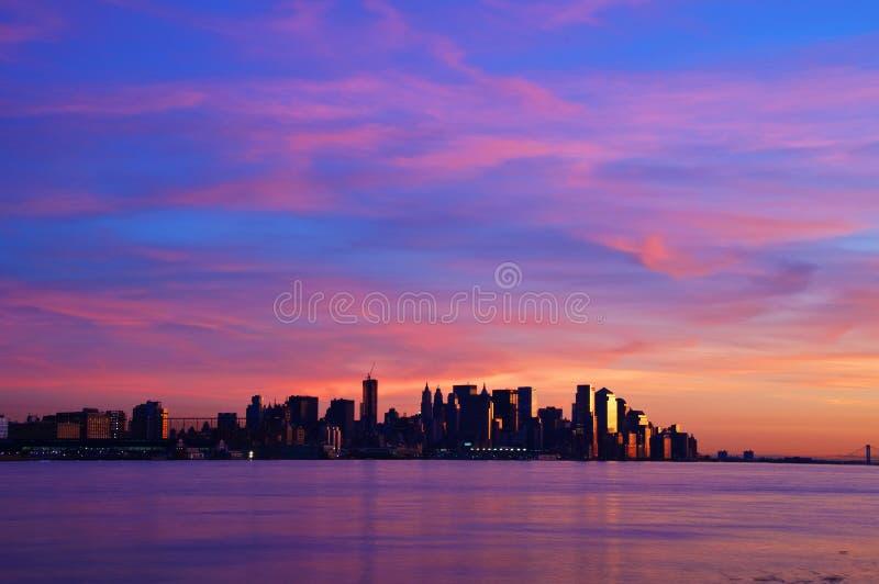 New york cityscape skyline at night, nyc, usa stock photos