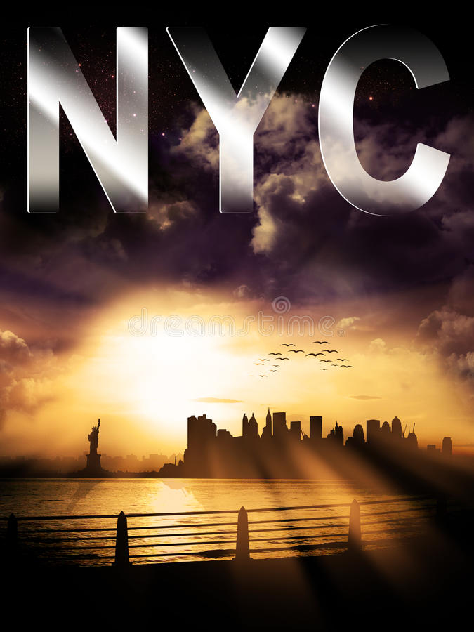 New- York Cityschattenbild-Sonnenuntergang mit NYC-Überschrift lizenzfreie abbildung