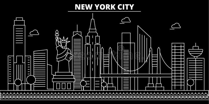 New- York Cityschattenbildskyline USA - New- York Cityvektor, amerikanische lineare Architektur, Gebäude New York City lizenzfreie abbildung