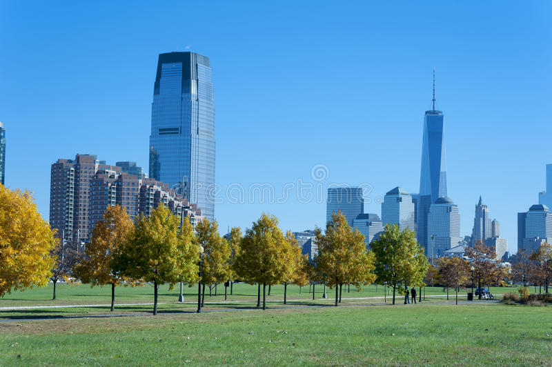 New- York Cityskyline von Liberty State Park stockfoto