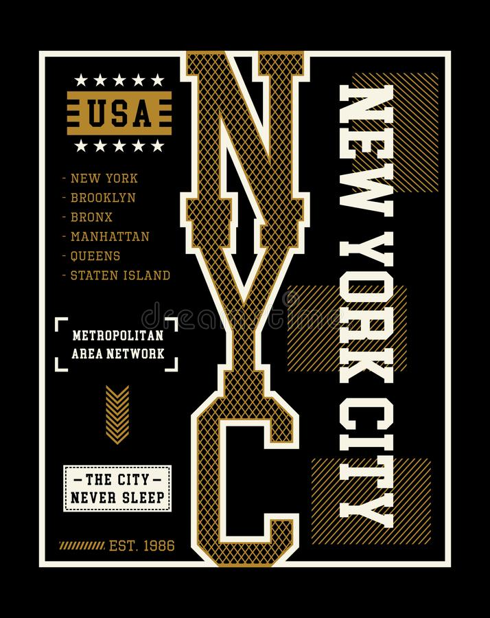New- York Cityt-shirt Grafik-Vektor stock abbildung