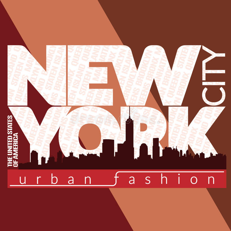 New- York Citytypographie-Grafikbezirke lizenzfreie abbildung