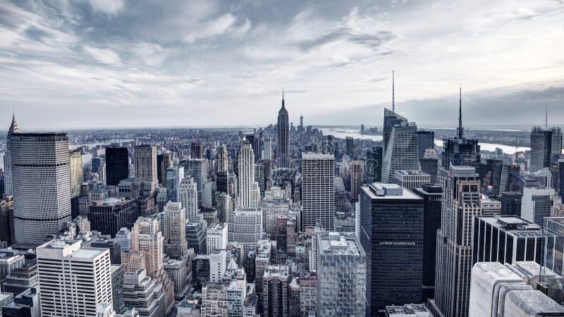 New- York Cityvogelperspektive-Panorama stockfotos