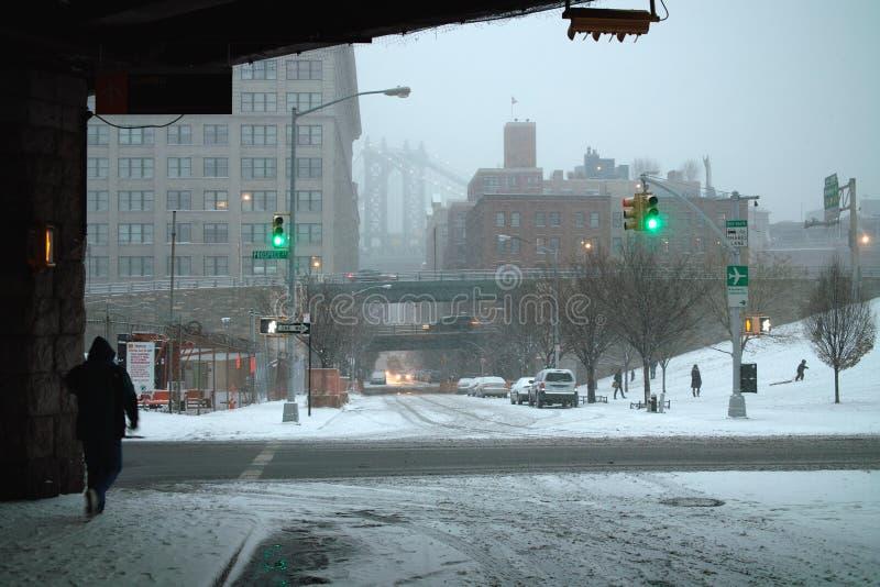 New- York Cityweihnachtswinter-Blizzard stockbild