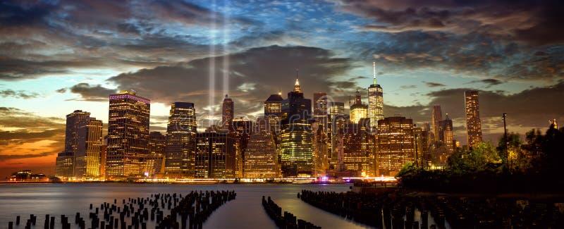 New York com tributo na luz fotos de stock