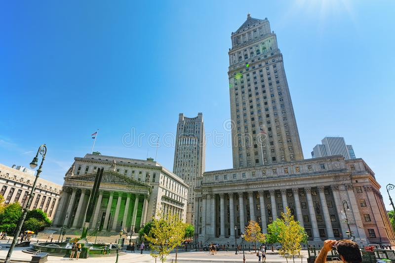 New York County Supreme Court and United States Court of Appeals. New York, USA- August 14, 2017 : New York County Supreme Court and United States Court of stock photos